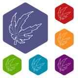 Hexahedron del vector de los iconos de la hoja de la marijuana libre illustration