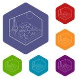 Hexahedron del vector de los iconos de la sequía stock de ilustración