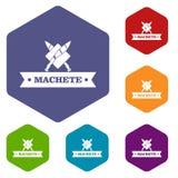 Hexahedron del vector de los iconos del machete libre illustration