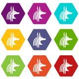 Hexahedron determinado del color de dios del icono egipcio antiguo de Anubis libre illustration