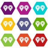 Hexahedron determinado del color del icono afirmativo y negativo de la señal libre illustration