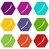 Hexahedron determinado del color del icono del machete ilustración del vector
