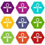 Hexahedron determinado del color del icono del símbolo de Egipto Ankh ilustración del vector
