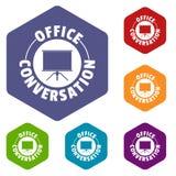 Hexahedron di vettore delle icone dell'ufficio di conversazione illustrazione vettoriale