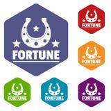 Hexahedron do vetor dos ícones da fortuna ilustração royalty free