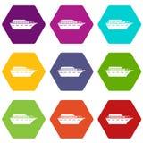 Hexahedron för färg för Powerboatsymbolsuppsättning vektor illustrationer