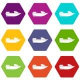 Hexahedron för färg för uppsättning för sportpowerboatsymbol royaltyfri illustrationer