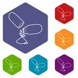 Hexahedron médico del vector de los iconos de la píldora de la marijuana stock de ilustración