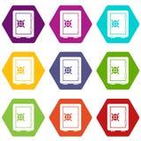 Hexahedron réglé de couleur d'icône de compartiment de coffre-fort illustration de vecteur