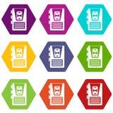 Hexahedron réglé de couleur d'icône de dictaphone Image stock