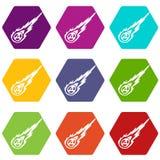 Hexahedron réglé de couleur d'icône de météorite Photos stock