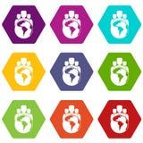 Hexahedron réglé de couleur d'icône de planète et de personnes du monde Photos stock