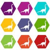 Hexahedron réglé de couleur d'icône de dinosaure de Brachiosaurus Photos libres de droits