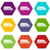 Hexahedron réglé de couleur de emergency van icon d'ambulance Photographie stock libre de droits