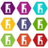Hexahedron réglé de couleur de rétro de style de jeu électronique icône de machine Photos libres de droits