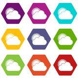 Hexahedron réglé de couleur de Sun et d'icône de nuage Photo libre de droits