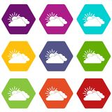Hexahedron réglé de couleur de Sun et d'icône de nuage Photographie stock libre de droits