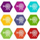 Hexahedron stabilito di colore dell'icona dei dardi royalty illustrazione gratis