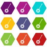 Hexahedron stabilito di colore dell'icona del banjo illustrazione vettoriale