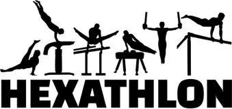 Hexathlon gymnastics set. Silhouettes vector illustration Royalty Free Stock Photo
