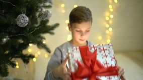 Excited happy little boy opening christmas present gift box surprised in awe sitting near underneath new year tree. Hexcited appy little boy opening christmas stock video