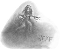 Hexe. Figure horrible old witch. A series of drawings on the theme of Halloween Stock Image