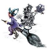 Hexe auf Broomstick Stockfotografie