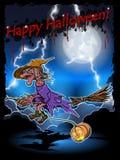 Hexe auf einem Broomstick Stockbilder