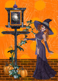 Hexe auf orange Hintergrund Stockfoto
