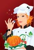 Hexe - Chef, der für Halloween-Party kocht Stockfoto