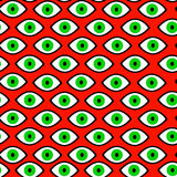 Hexe des grünen Auges, Halloween, psychedelisches nahtloses Muster vektor abbildung