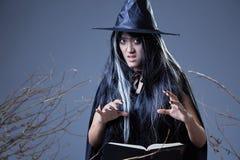 Hexe, die Bannbuch verwendet Lizenzfreie Stockbilder