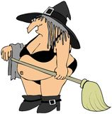Hexe in einem schwarzen Bikini Stockbild