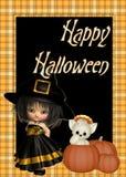Hexe, Katze, Kürbis-glücklicher Halloween-Hintergrund Stockfotografie