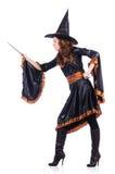 Hexe mit dem Stab getrennt Stockfoto