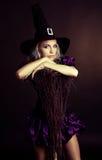 Hexe mit einem Besen Stockfotos