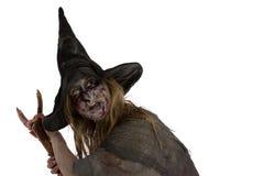 Hexe mit einem Besen Stockfoto