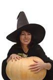 Hexe mit einem Kürbis Lizenzfreies Stockbild
