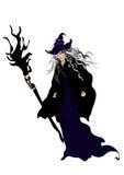Hexe mit Hut und Besen Lizenzfreie Stockfotografie