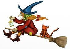 Hexe mit Katze Lizenzfreies Stockfoto