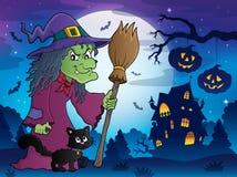Hexe mit Katzen- und Besenthemabild 8 Lizenzfreie Stockfotografie