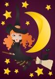 Hexe mit schwarzer Katze stock abbildung