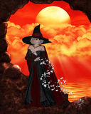 Hexe mit Spinne Stockfotografie