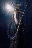 Hexe mit Vollmond lizenzfreie stockfotografie