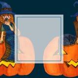 Hexe und Cat Sitting auf Kürbis-Aquarell-Fahnen-Karte Auch im corel abgehobenen Betrag Stock Abbildung