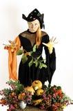 Hexe und Kürbise und Blumen Lizenzfreie Stockfotografie