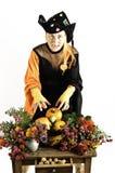 Hexe und Kürbise und Blumen Lizenzfreie Stockfotos