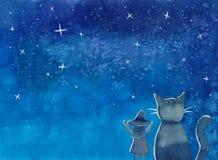 Hexe und Katze unter blauem Aquarell des Galaxie-nächtlichen Himmels vektor abbildung