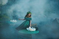 Hexe wirft einen Bann auf dem Wasser im Nebel Lizenzfreies Stockfoto