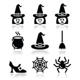 Hexen-Halloween-Vektorikonen eingestellt Stockbild